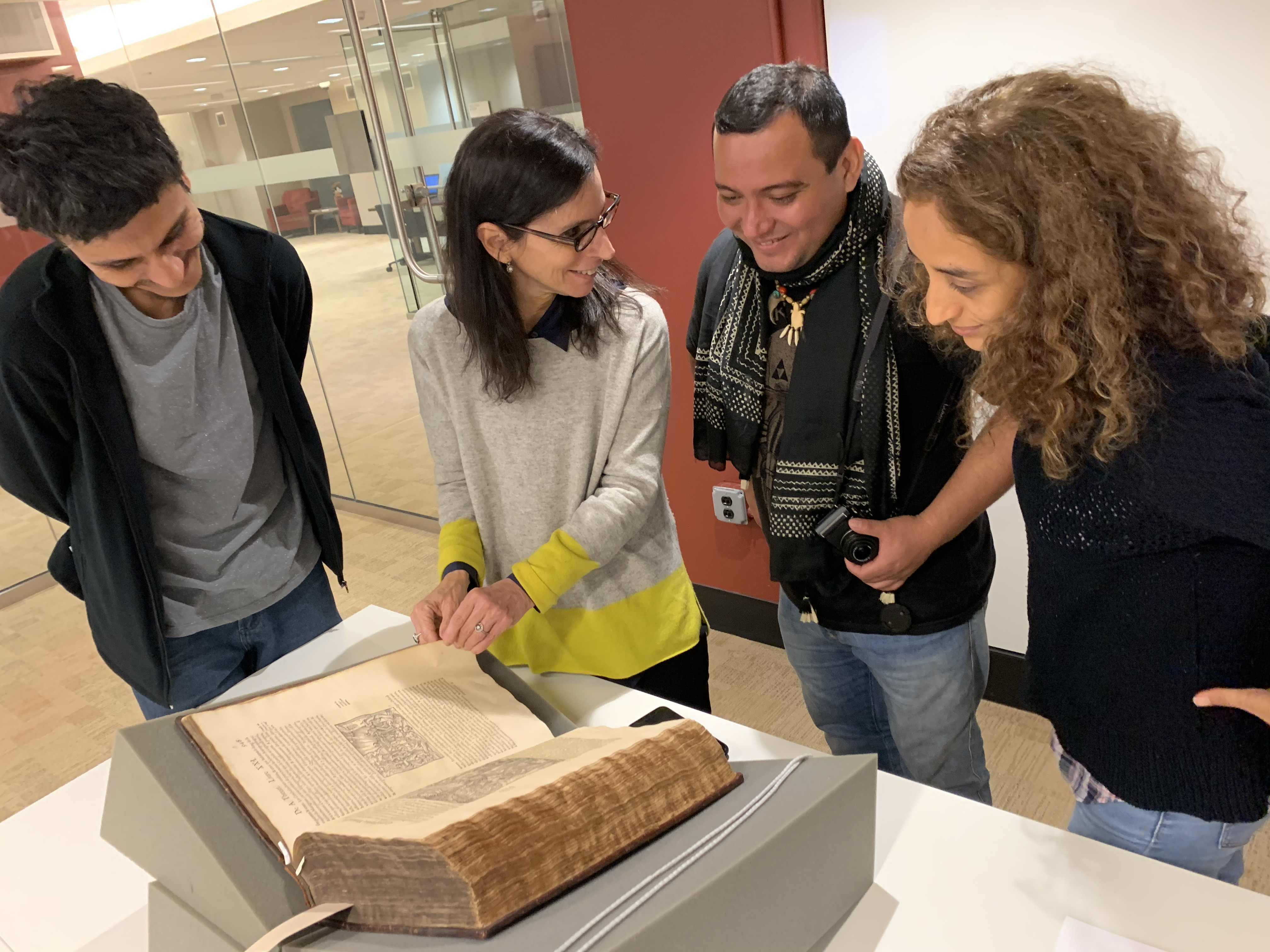 Visiting ProfessorLilia M. Schwarcz and Brazil LAB guests visiting Firestone's Rare Books Collections.