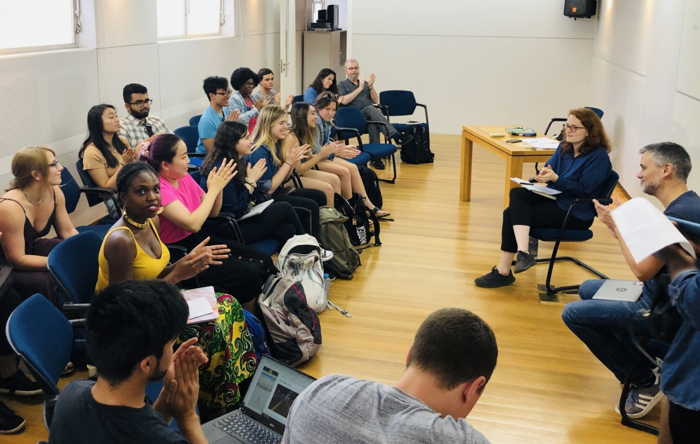Flora Thomson-DeVeaux discussing her translation work with PIIRS' Brazil LAB Global Seminar, June 2019